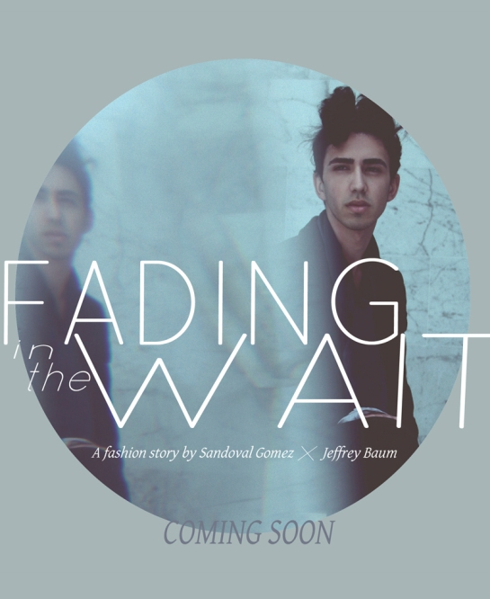 Teaser poster for Fading In The Wait; a fashion story by Sandoval Gomez and Jeffrey Baum